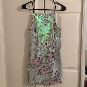 TOPSHOP holographic sequin cocktail dress